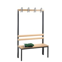 Cloakroom bench 100 cm wide - Single sided with wooden slats