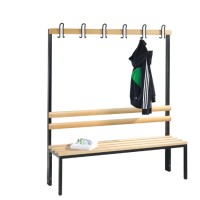 Cloakroom bench 150 cm wide - Single-sided with wooden slats