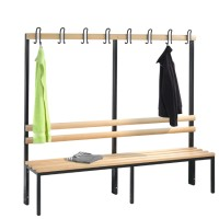 Cloakroom bench 200 cm wide - Single-sided with wooden slats