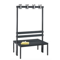 Cloakroom bench 100 cm wide - Double-sided with plastic slats