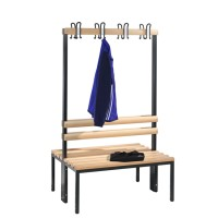 Cloakroom bench 100 cm wide - Double-sided with wooden slats