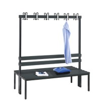 Cloakroom bench 150 cm wide - Double-sided with plastic seat sla..