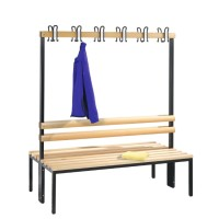 Cloakroom bench 150 cm wide - Double-sided with wooden slats
