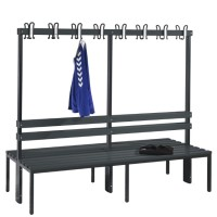 Cloakroom bench 200 cm wide - Double-sided with plastic seat sla..