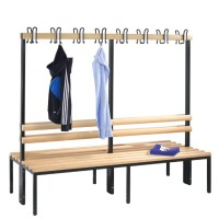 Cloakroom bench 200 cm wide - Double-sided with wooden slats