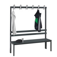 Cloakroom bench 150 cm wide - Single-sided with plastic slats