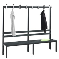 Cloakroom bench 200 cm wide - Single-sided with plastic seat sla..